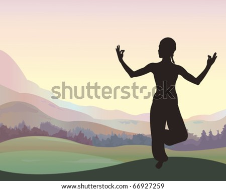 Young beautiful woman meditating on nature background - stock vector