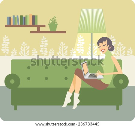 young beautiful woman using a laptop computer at home - stock vector