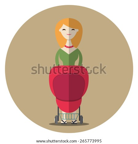 Young beautiful woman with a baby stroller. Vector illustration, trendy flat design. - stock vector