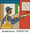 Young black mailman delivering mail - stock vector