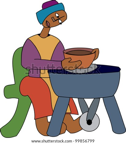 Young black potter turning a pot on a wheel - stock vector