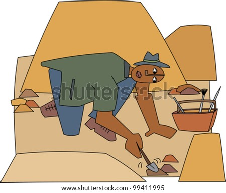 Young black professional archaeologist digging for fossils - stock vector