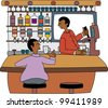 Young black professional barkeeper with client at the bar - stock vector
