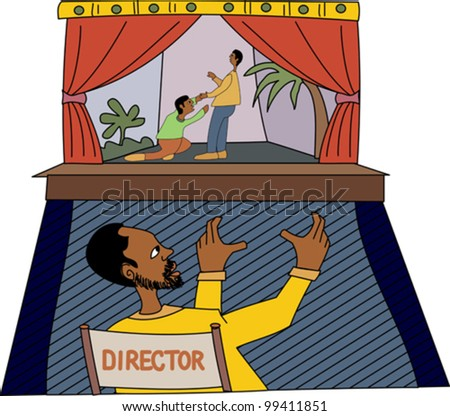 Young black professional stage director with actors performing a scene on stage - stock vector