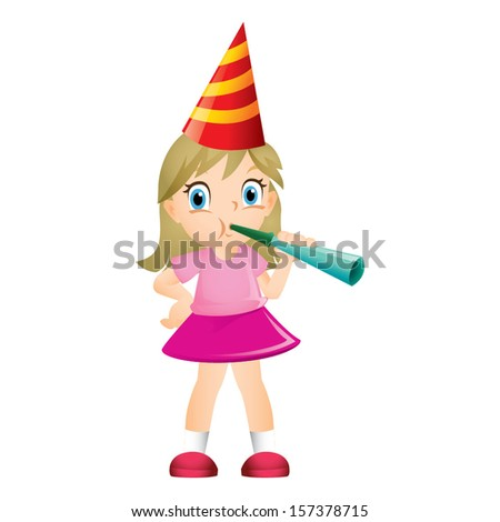 Young blond girl blowing party trumpet - stock vector