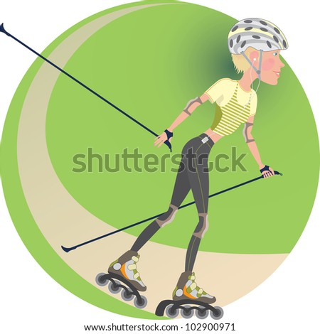 young blonde girl rides a roller-skating with ski poles - stock vector