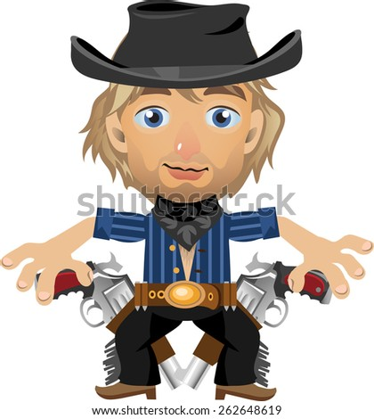 young blue-eyed blonde with two revolvers in the hat - stock vector