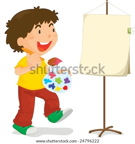 Young boy about to paint a canvas - stock vector