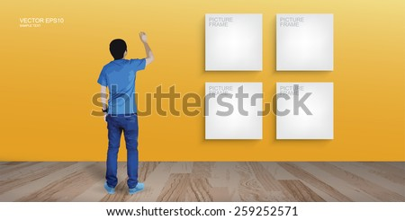 Young boy draw something and white canvas frame background in room space. Vector illustration.