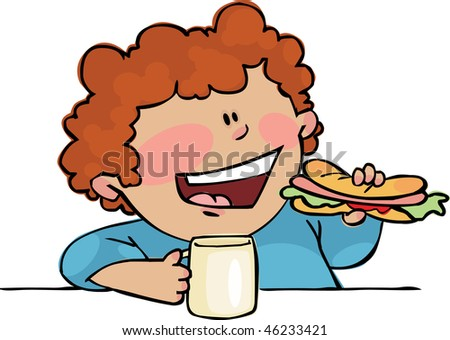 Young boy eating hotdog - stock vector