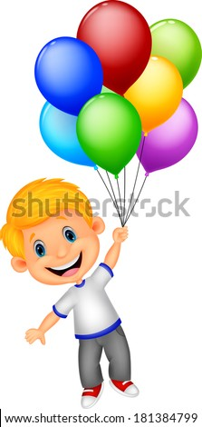 Young boy flying with balloon - stock vector