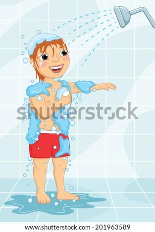 Young Boy Having Shower Vector Illustration - stock vector
