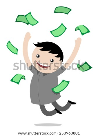 Young boy jumping for joy after winning money leaping in the air with a big grin with banknotes floating around him, vector cartoon illustration - stock vector