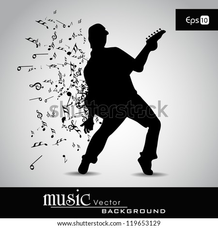 Young boy silhouette and musical notes with burst effect , can be used as flyer or banner for party or events. EPS 10. - stock vector
