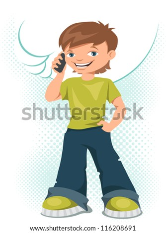 Young boy talking on his mobile phone. - stock vector