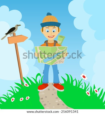 Young boy tourist with a backpack, check the route on the map - stock vector
