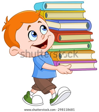 Young boy walking and carrying a tall and heavy stack of school books - stock vector