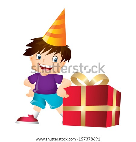 Young boy with brown hair posing with a big present - stock vector