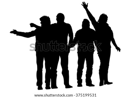 Young boys crowds on white background - stock vector
