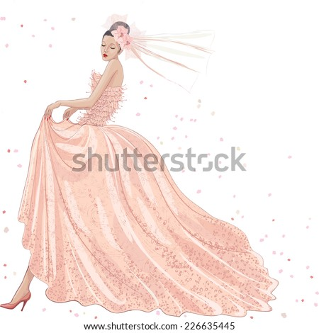 Young bride in pink dress on white background - stock vector
