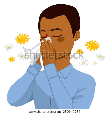 Young brown haired african american man sneezing blowing nose on white tissue because of spring allergy - stock vector