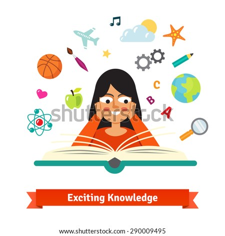 Young brunette girl reading a book exited and smiling holding hands on cheeks. Vector illustration. Education flat style vector icons set. - stock vector