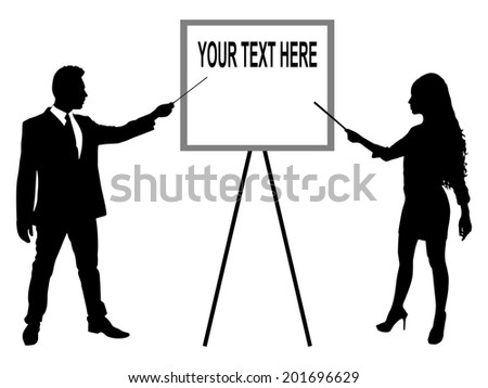 young business man and business woman presenting something on a board together, vector  - stock vector