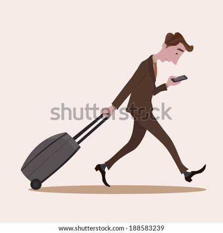 Young business man pulling the luggage busy with mobile phone - stock vector