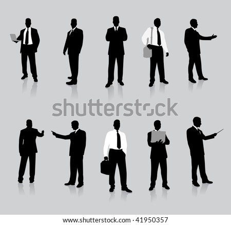 Young business man silhouettes - stock vector