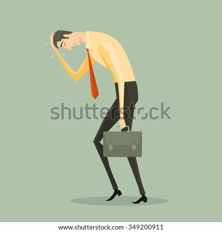 Young business man tired holding a briefcase. Feeling of sadness or displeasure caused by the non fulfillment of one's hopes or expectations. Concept metaphor for the failure of the business. - stock vector