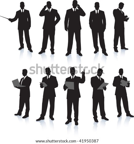 Young business men silhouettes working - stock vector