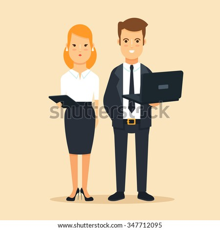 Young Business Woman Holding Tablet and Businessman Holding Laptop. Colorful Vector Illustration - stock vector