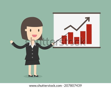 young business woman points to chart of profit - stock vector