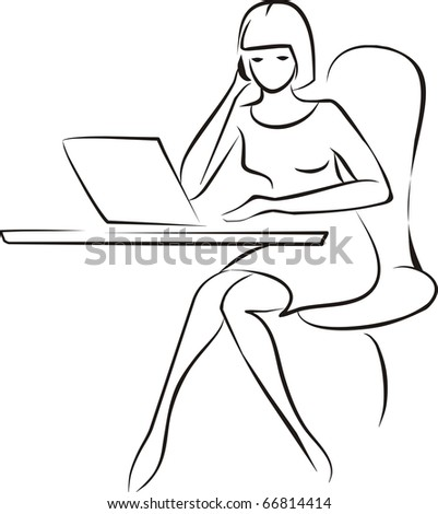 young business woman sitting in the office with phone and laptop sketch - stock vector