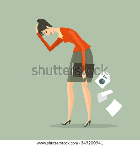 Young business woman tired holding a briefcase. Feeling of sadness or displeasure caused by the non fulfillment of one's hopes or expectations. Concept metaphor for the failure of the business. - stock vector