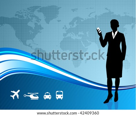 Young business woman traveller on world map background
