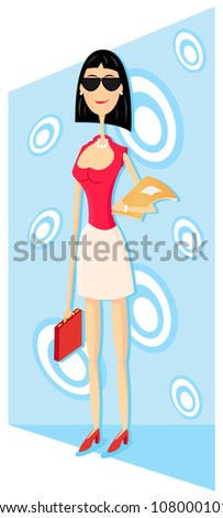 young business woman with sunglasses - stock vector