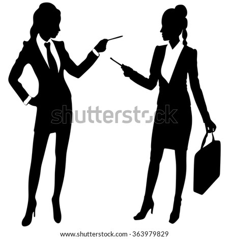 Young business women in office working together - stock vector