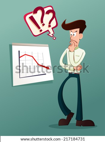 young businessman analyze business result - stock vector