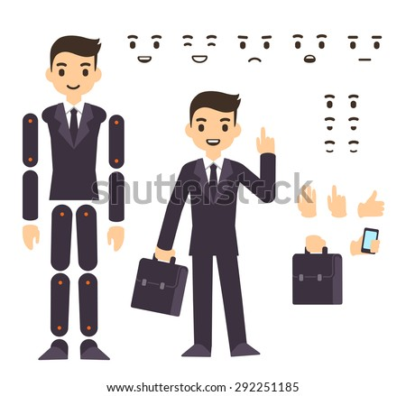 Young businessman cartoon character in formal suit, animation ready vector doll with separate joints. Extra gestures, facial expressions and items (suitcase, smartphone) - stock vector