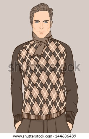 Young businessman (Caucasian type) - vector illustration - stock vector