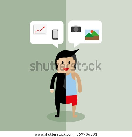 Young businessman compare working day and holiday. - stock vector