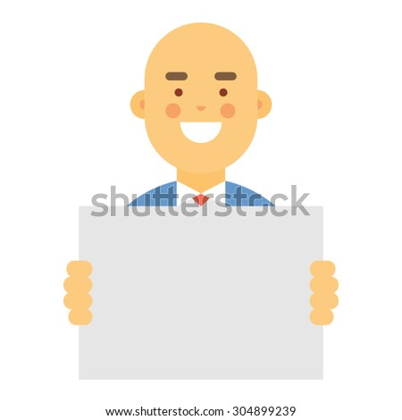 Young businessman holding blank sign - stock vector