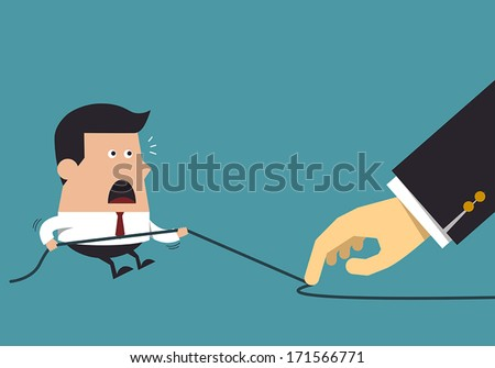 Young businessman in tug of war, Business concept - stock vector
