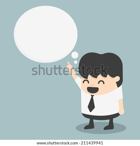 young businessman indicate cloud text - stock vector