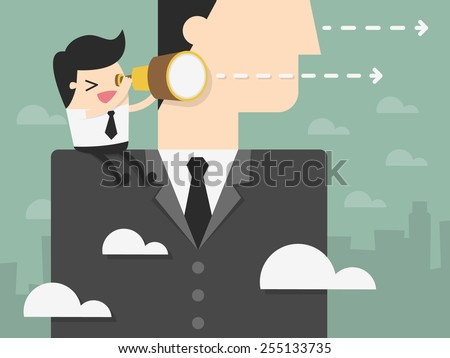 Young Businessman Looking Forward on The Shoulder of Giant Businessman. business vision concept illustration - stock vector
