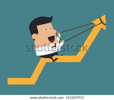 Young businessman pulling up a graph, Business concept - stock vector