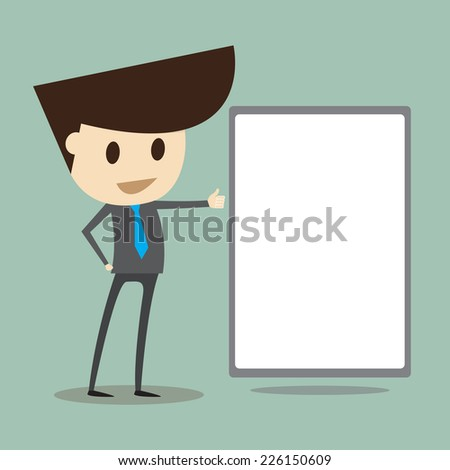 young businessman showing  empty card - stock vector