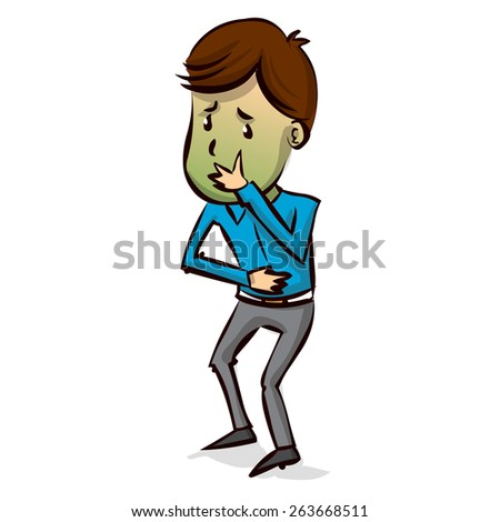 Young businessman sick. Hand drawn cartoon vector illustration - stock vector