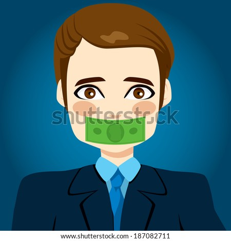 Young businessman silenced by money concept with green bill covering his mouth - stock vector
